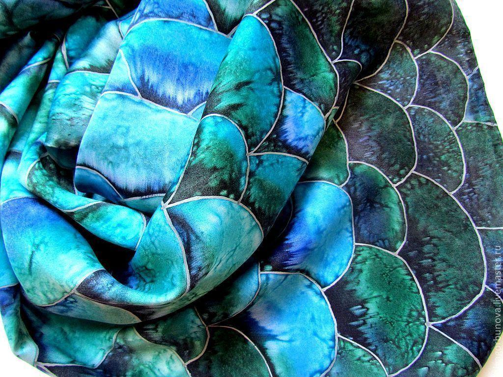 Batik scarf 'Water snake', Scarves, Yaroslavl,  Фото №1