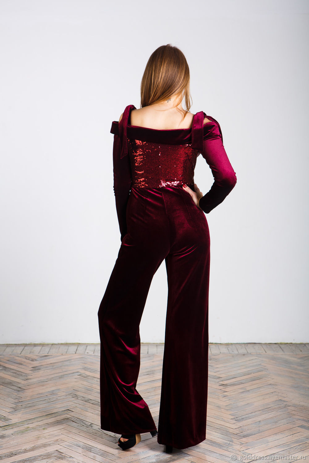 Burgundy evening jumpsuit – shop online on Livemaster with shipping ...