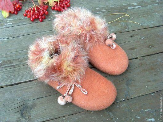 """Обувь ручной работы. Ярмарка Мастеров - ручная работа. Купить Тапочки """" Осень"""". Handmade. Коралловый, шерсть 100%"""
