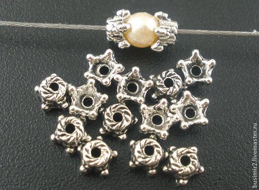 Шапочка для бусин, цвет - античное серебро. Размер 5 мм. Фурнитура для создания украшений. Busimir