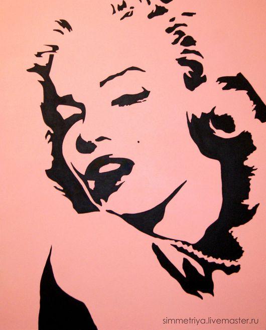 Люди, ручной работы. Ярмарка Мастеров - ручная работа. Купить картина monroe в стиле поп-арт. Handmade. Бледно-розовый
