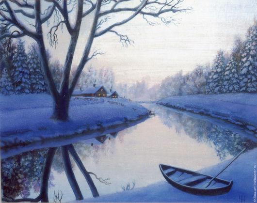"""Пейзаж ручной работы. Ярмарка Мастеров - ручная работа. Купить Авторская картина """"Зима"""". Handmade. Голубой, ручная работа handmade"""