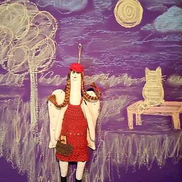 Куклы и игрушки ручной работы. Ярмарка Мастеров - ручная работа Девочка ангел и кот. Handmade.