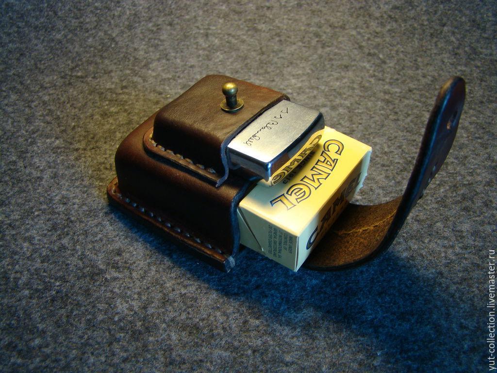 Кожаный чехол для сигарет и зажигалки Zippo,