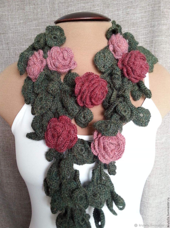 Цветочный шарф -9, Шарфы, Орехово-Зуево, Фото №1
