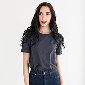 Одежда handmade. Livemaster - original item T shirt cotton basic loose blue jeans. Handmade.