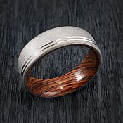 Украшения handmade. Livemaster - original item Matte grey Titanium ring with Cocobolo wood.. Handmade.