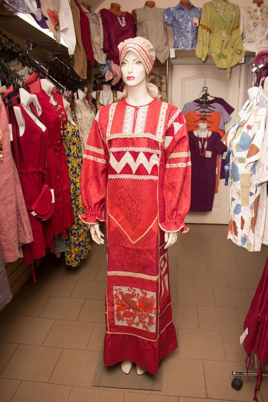 Одежда ручной работы. Ярмарка Мастеров - ручная работа. Купить Платье-рубаха. Handmade. Комбинированный, платье-рубашка, русская одежда
