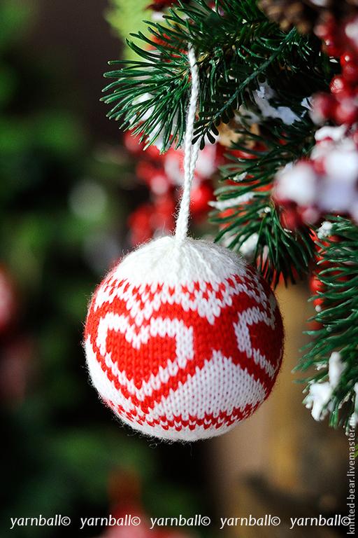 """Подарки для влюбленных ручной работы. Ярмарка Мастеров - ручная работа. Купить Вязаный шар """"Сердце"""". Handmade. Ярко-красный"""