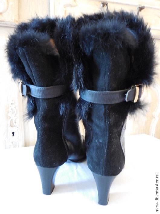 Винтажная обувь. Ярмарка Мастеров - ручная работа. Купить Винтажные кожаные сапоги с меховой опушкой, Италия, р.37,5. Handmade.