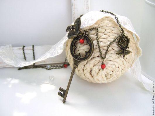 кулон ключ коралл купить подарок магазин подарков кулон фото винтажные кулоны украшения интернет магазин украшений купить подарок кулон в офис на работу украшения фото подарок на рождение бохо кулон