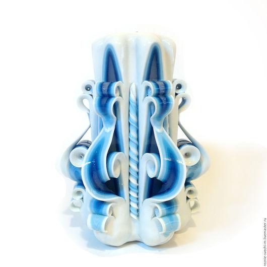 Свечи ручной работы. Ярмарка Мастеров - ручная работа. Купить Резная свеча Гжель (арт.200). Handmade. Резные свечи
