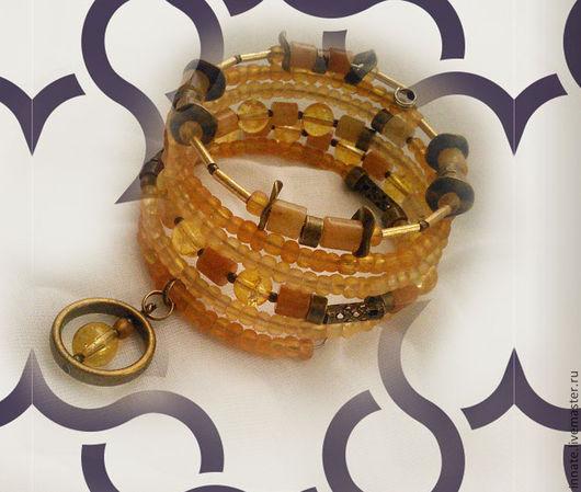 """Браслеты ручной работы. Ярмарка Мастеров - ручная работа. Купить браслет """"медные лучи"""". Handmade. Браслет, мемори проволока, желтый"""