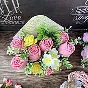 Косметика ручной работы handmade. Livemaster - original item Soap bouquet in an envelope of roses, daffodils and freesias. Handmade.