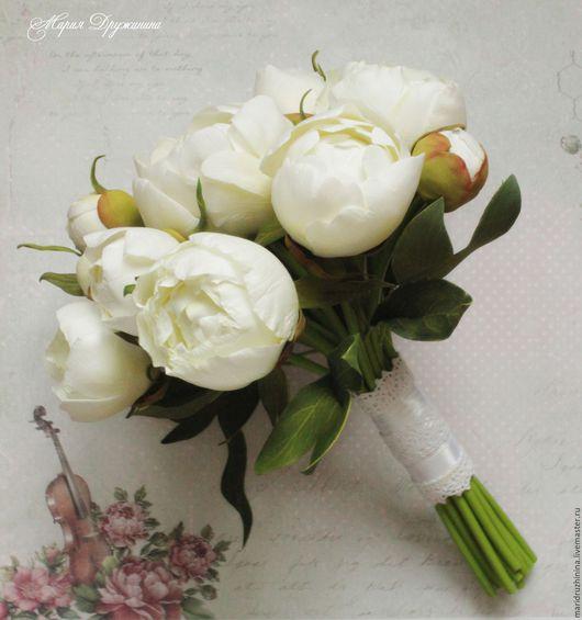 """Свадебные цветы ручной работы. Ярмарка Мастеров - ручная работа. Купить Букет невесты """"Седьмое небо"""" с пионами из фоамирана.. Handmade."""