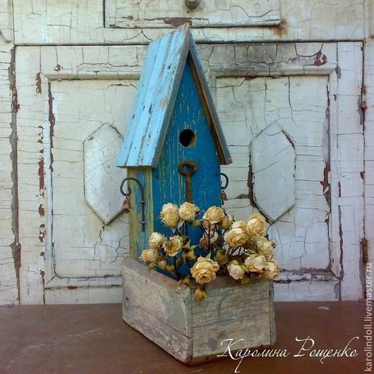 """Кашпо ручной работы. Ярмарка Мастеров - ручная работа. Купить Кашпо """"Старый дом"""". Handmade. Голубой, ржавый ключ, проволока"""