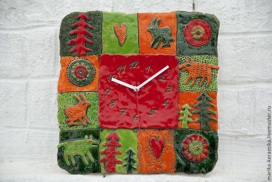 Часы для дома ручной работы. Ярмарка Мастеров - ручная работа. Купить Часы керамические  Новогодние. Handmade. Керамика, яркое украшение