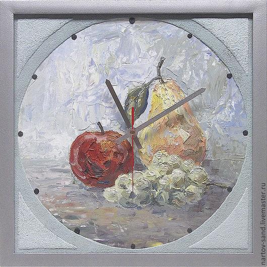 """Часы для дома ручной работы. Ярмарка Мастеров - ручная работа. Купить """"НАТЮРМОРТ"""" из песка часы авторские. Handmade. Голубой, натюрморт"""