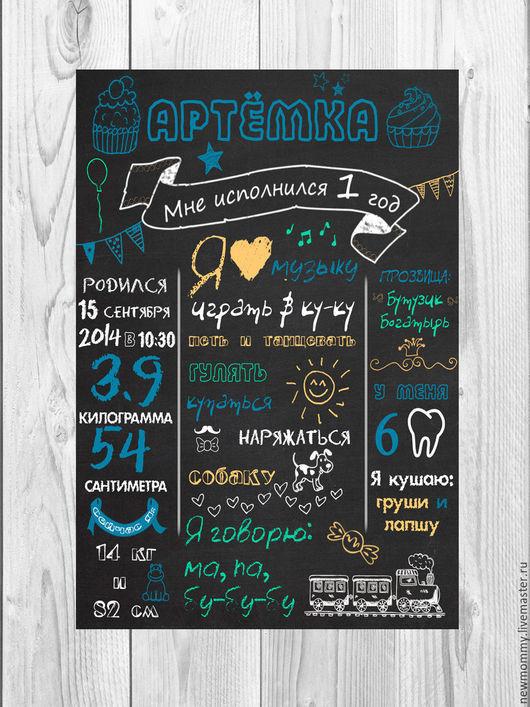 Постер (метрика) на 1 годик для сыночка. Цена файла для самостоятельной печати любого размера 500 рублей.