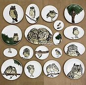 Посуда handmade. Livemaster - original item Porcelain painting Collection of plates on the wall Owls our all !. Handmade.