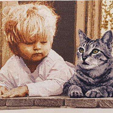 Картины и панно ручной работы. Ярмарка Мастеров - ручная работа Картины: Украшения для дома: Вышивка Мальчик и кот. Handmade.