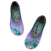 """Обувь ручной работы. Ярмарка Мастеров - ручная работа """"Рыбки в пруду"""", валяные домашние тапочки. Handmade."""