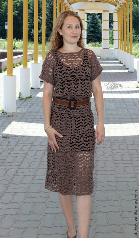 Платье связанное из хлопка