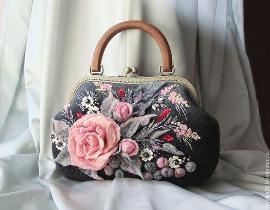 """Женские сумки ручной работы. Ярмарка Мастеров - ручная работа. Купить сумочка """"Рremiere"""" (Прима). Handmade. Розовый, розовый и серый"""