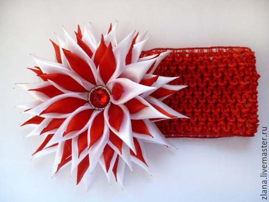 """Детская бижутерия ручной работы. Ярмарка Мастеров - ручная работа. Купить Повязка для волос детская """"Красный цветок"""". Handmade."""