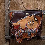 Купить Бронь Кожаная сумка Улочки старой Праги