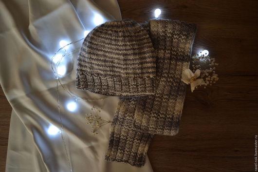 Шапки ручной работы. Ярмарка Мастеров - ручная работа. Купить Шапка + шарф. Handmade. Комбинированный, в полоску, 80% шерсть