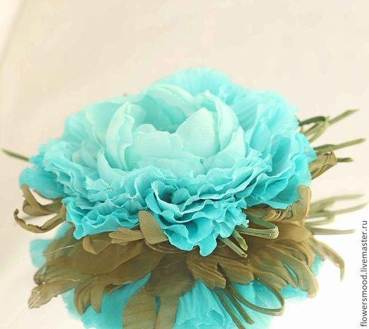 """Цветы ручной работы. Ярмарка Мастеров - ручная работа. Купить Пион """"Бирюзовые сны"""". Handmade. Бирюзовый, брошь в форме цветка"""