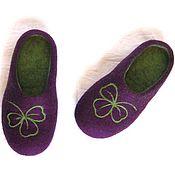 Обувь ручной работы. Ярмарка Мастеров - ручная работа Фиолетовые тапочки с низкой пяткой, 37-й готовая пара. Handmade.