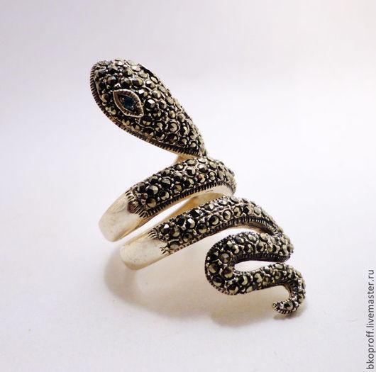 Кольца ручной работы. Ярмарка Мастеров - ручная работа. Купить Серебряное кольцо 925 пробы марказит Змея. Handmade. кольцо