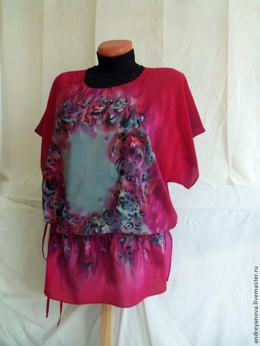 """Блузки ручной работы. Ярмарка Мастеров - ручная работа. Купить Блуза -батик """"Бисер"""" красная с коротким рукавом.. Handmade."""