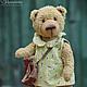 Фрося Горчицина - авторский мишка Тедди девочка в платье с сумочкой (старый добрый плюшевый мишка в одежде).