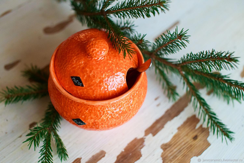 Mandarin sugar bowl-handmade ceramics, Sugar Bowls, Zhukovsky,  Фото №1