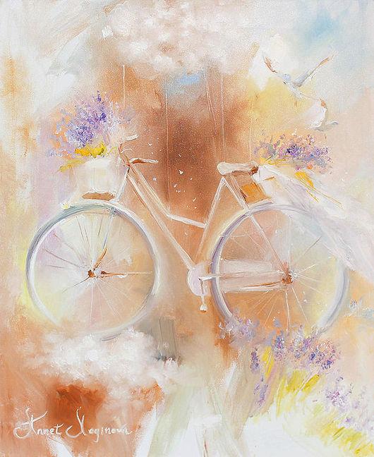 Картины цветов ручной работы. Ярмарка Мастеров - ручная работа. Купить Fly bicycle. Handmade. Картина на холсте, пастельные тона