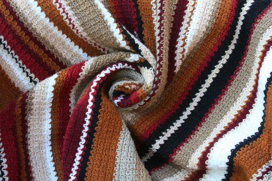 """Текстиль, ковры ручной работы. Ярмарка Мастеров - ручная работа. Купить Плед """"Осень"""". Handmade. Плед, покрывало на диван, полосы"""