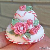 handmade. Livemaster - original item Wedding cake Dollhouse miniature Food for dolls. Handmade.