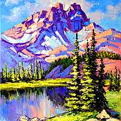 """Картины и панно ручной работы. Ярмарка Мастеров - ручная работа Горный пейзаж """"Аляска. Розовые Горы"""". Handmade."""