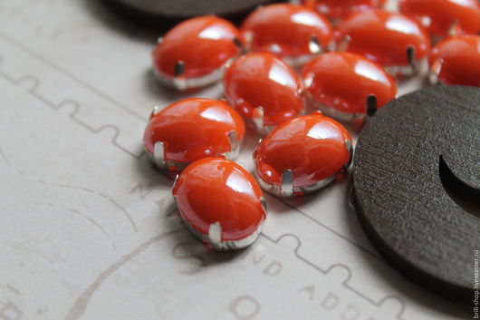 Для украшений ручной работы. Ярмарка Мастеров - ручная работа. Купить Перламутровые стразы овал 10х14 мм Апельсиновый фреш. Handmade.