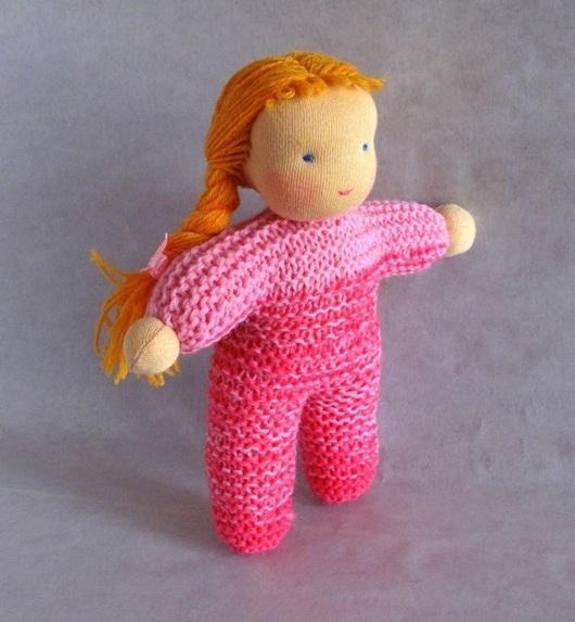 Вальдорфская игрушка ручной работы. Ярмарка Мастеров - ручная работа. Купить вязаная вальдорфская кукла 20 см. Handmade.