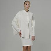 Одежда ручной работы. Ярмарка Мастеров - ручная работа Куртка белая из лодена ассиметричная из вареной шерсти дизайнерская. Handmade.