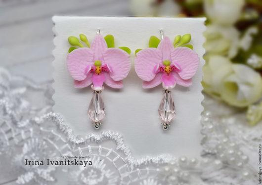 Серьги ручной работы. Ярмарка Мастеров - ручная работа. Купить Серьги с орхидеями. Handmade. Розовый, орхидея, орхидея ручной работы