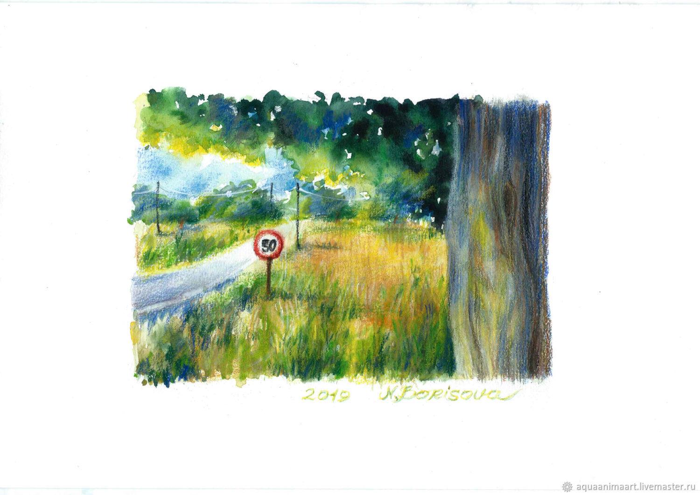 дорога вдоль поля, Картины, Москва, Фото №1