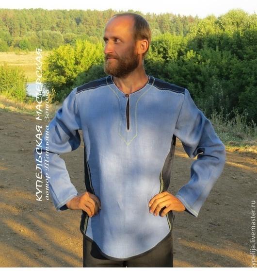 """Для мужчин, ручной работы. Ярмарка Мастеров - ручная работа. Купить Рубаха льняная мужская """"Сила"""". Handmade. Синий, этностиль"""