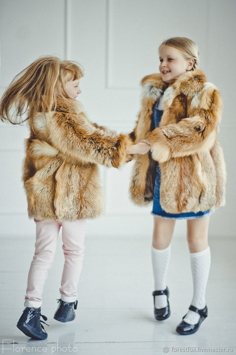 Fox fur kids coat in red, Childrens outerwears, Moscow,  Фото №1