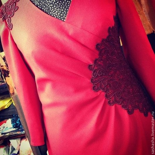 Платья ручной работы. Ярмарка Мастеров - ручная работа. Купить Платье с кружевом. Handmade. Ярко-красный, кружево, Платье нарядное