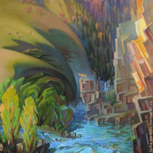 Пейзаж ручной работы. Ярмарка Мастеров - ручная работа. Купить Картина Осень в горах масло/холст. Handmade. Разноцветный, картина для интерьера